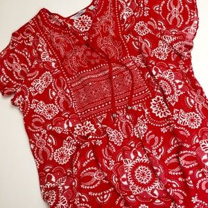 Indigo Embroidered Red White Top Size 1X